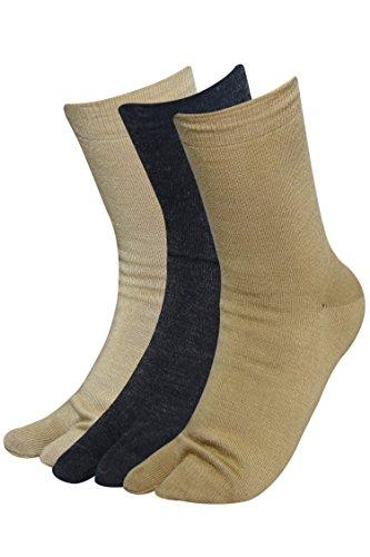Balenzia Black Women Plain Woolen Toe Socks- Skin, Fawn (Pack of 3)