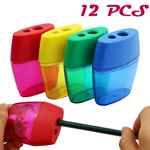Finico 12 PCS Double Hole Pencil Sharpener,Double Holes Triangular Shape Pencil Sharpener With Cover and Receptacle for School and Work,Two Hole Pencil Sharpener(Green, blue, yellow, red)