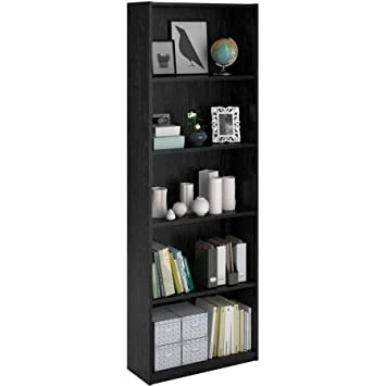 Ameriwood 5-Shelf Bookcase, Decorative bookcase is easy to assemble Doubles as an open shelving unit Black