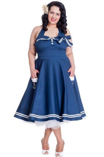 Hell-Bunny-Plus-60s-Pinup-Vintage-Halter-Dark-Navy-Sailor-Swing-Dress