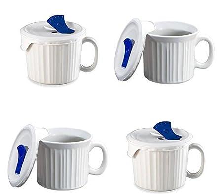CorningWare - Cazuela Pop en taza, 4 tazas con tapas de plástico ...
