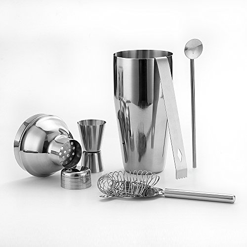 5 Piece Stainless Steel 25 oz Cocktail Shaker Set by QLL, Silver Tipsy Tools Bartending Kit Cocktail Strainer Drink Stirrer Ice Tongs Jigger by QLL (Image #2)