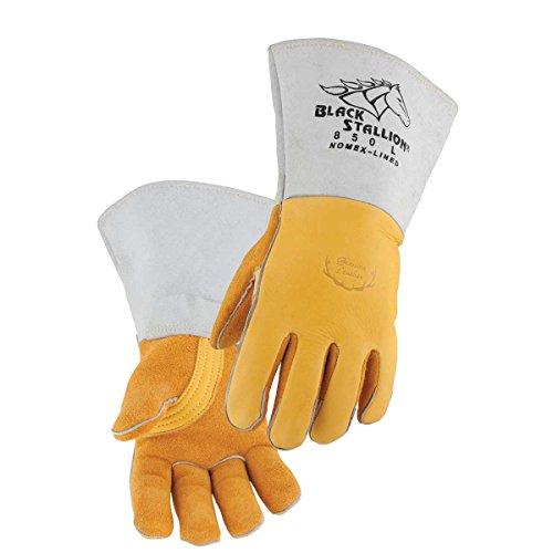 Revco 850L Flame Resistant Nomex Lined Elkskin Stick Welding Gloves L (Black Stallion Gloves Welding)