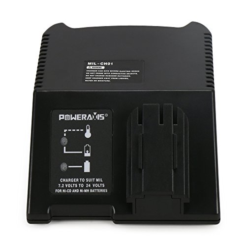 POWERAXIS Replacement AEG Milwaukee Atlas Copco Universal Charger for 7.2V - 24V Ni-CD Ni-MH Battery PAS12PP BS12X BBS14X