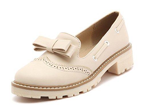 Aisun Womens Trendy Round Toe Platform Slip on Dress Low Heels Pumps Shoes With Bows Beige skqrNWJAc