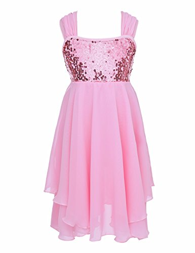 FEESHOW Girls Sequined Ballet Lyrical Dance Irregular Chiffon Dress Costumes Gymnastic Leotard Pink (Lyrical Costumes For Dance)