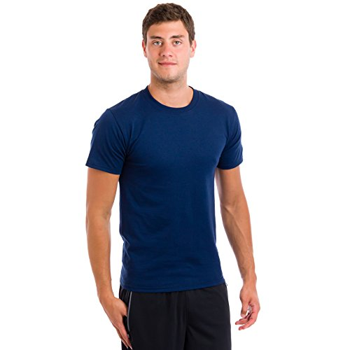 Hanes Men's ComfortSoft Crew Neck T-Shirts- 2 Pack, Navy/Kha