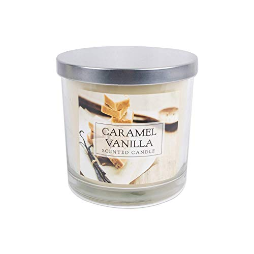 - DII Home Traditions 3-Wick Evenly Burning Highly Scented 4x4 Large Jar Candle 45+ Hour Burn Time (14.5 oz) - Caramel Vanilla Scent