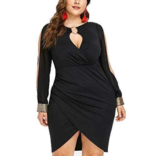 Price comparison product image Peacur Women Long Sleeve Dresses Fashion Sexy Plus Size Solid Keyhole Neck Ring Slit Bodycon Mini Dress (Black,  XXL)