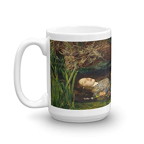 Millais Painting Ophelia - Ophelia Painting by John Everett Millais 15 Oz Ceramic Glossy Mugs With Easy Grip Handle, Give A Classic For Look And Feel