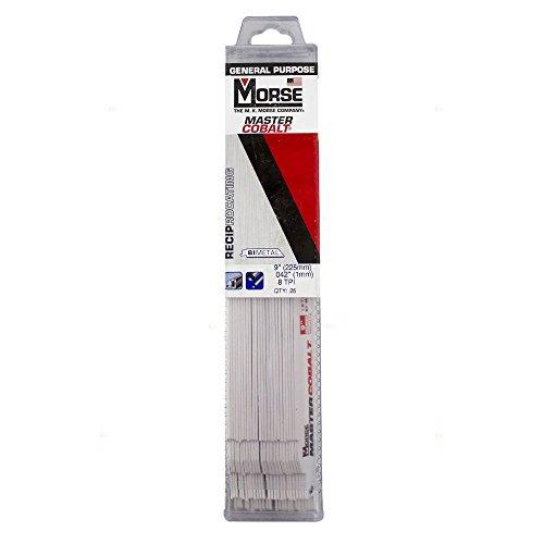 "25 Pc Set MK Morse Master Cobalt Bi-Metal Reciprocating Saw Blades 9""x1""x.042"" 18 TPI Steel Plastic Wood for Industrial Shop DOY Hobby AutoAndArt"
