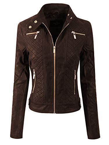 Design by Olivia Women's Elegant Faux Suede Zip Up Moto Biker Jacket Brown M