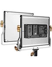 Neewer Dimmbare zweifarbige 600 LED Videoleuchte mit U-Halterung für Studio YouTube Videofotografie Stabiler Metallrahmen 3200-5600K CRI 96+ verbessertes Kühldesign (Gold)