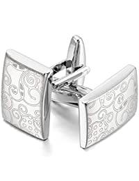 MOWOM Silver Tone 2PCS Rhodium Plated Cufflinks Pattern Wheel Shirt Wedding Business