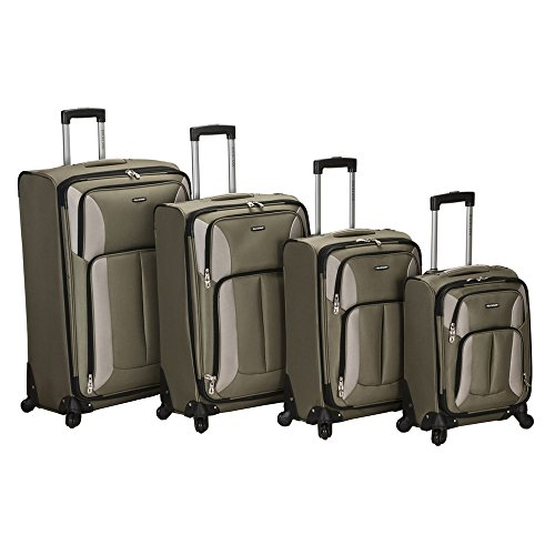 Rockland Luggage Impact Spinner 4 Piece Luggage Set, Olive by Rockland