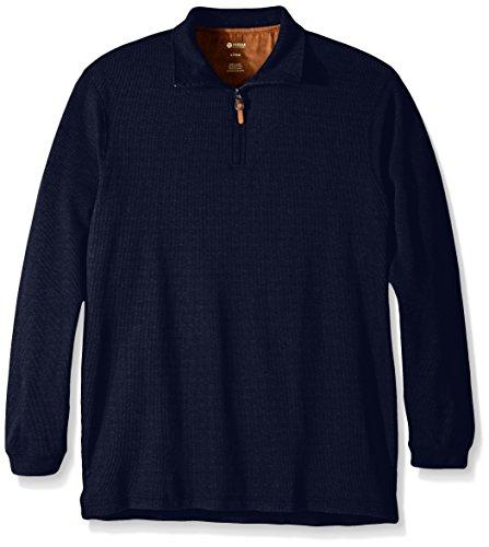 Haggar Mens Big-Tall Knit Flat Back Rib Quarter Zip Sweater
