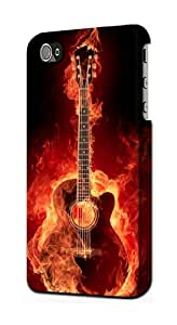 S0415 Fire Guitar Burn Case Cover For IPHONE 4 4S