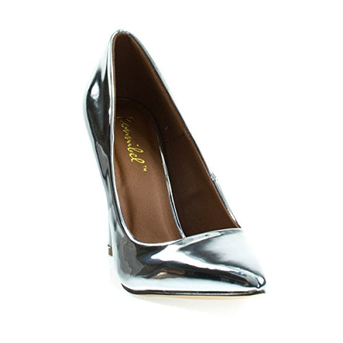 Classic High Heel Dress Pump w Pointed Toe, Stiletto Heel & Padded Sole Silver Metallic
