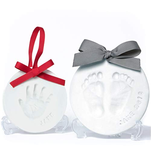 (Baby Leon Footprint Ornament Kit | White x 2 Clay Molds & Paint Set | Best Baby Shower Gift for Newborn Girls & Boys | New Mom Gift Registry | Handprint & Pet Paw Print Keepsake | Safe Air Dry Clay)
