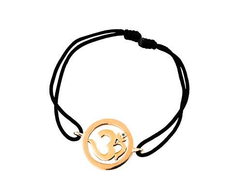 Aumkaara Om Single Diamond Bracelet in 14k Gold for New Born Baby Gift on Adjustable Nylon (Diamond White Gold Baby Bracelets)