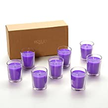 Hosley Premium, Highly Scented Set of 8, Lavender, Essential Oils, Votive Candles in Clear Glass. Burns upto 12 hours each. Great Gift for Home, Patio, Gardens
