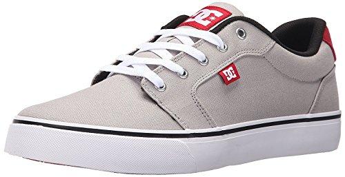 DC Mens Anvil TX Skate Shoe, Grey/Red/White, 38 D(M) EU/5 D(M) UK