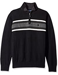 Men's Tri-Color Chest Stripe 1/4 Zip Sweater