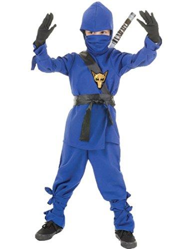 Underwraps Costumes Big Boy's Children's Blue Ninja Costume, Medium 6-8 Childrens Costume, blue, -