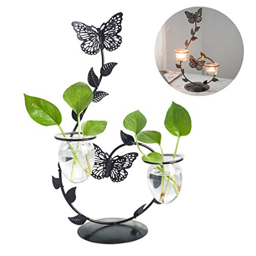 Cool Lemon 2in1 Iron Butterfly Candle Holder Glass Planter Vase Pot Scindapsus Container for Hydroponic Water Plants Air Plants Home Office Garden Desktop Stand Decor