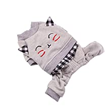 EraseSIZE Pet Dog Winter Cute Cat Pattern Cotton Coat Two-Legged Sweater, Comfortable Soft and Warm Apparel from Size XS - XL, Suitable Small Medium Large Dogs (XS, Gray)