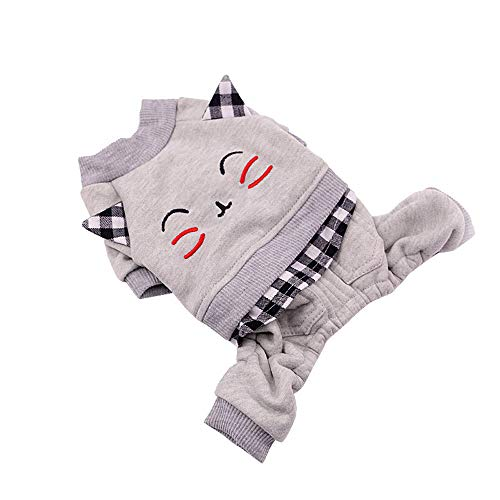 (EraseSIZE Pet Dog Winter Cute Cat Pattern Cotton Coat Two-Legged Sweater, Comfortable Soft and Warm Apparel from Size XS - XL, Suitable Small Medium Large Dogs (XS, Gray))