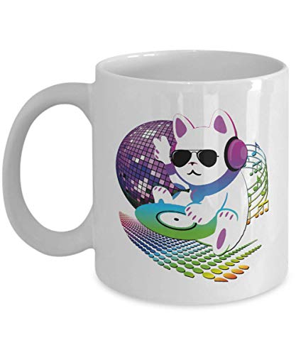 Cute Retro CAT DJ With Headphones, Sunglasses, CD Vinyl & Disco Ball Art Coffee & Tea Gift Mug, Party Favors, Giveaways, Supplies, Desk Décor, Accessories And Items For A Disc Jockey Or Deejay ()