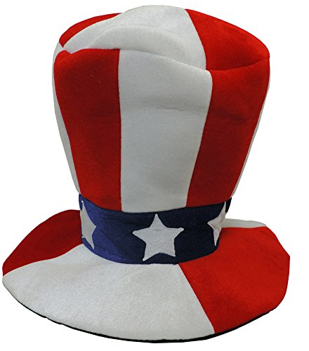 Deluxe Red White And Blue Plush Velvety Stovepipe Top Hat