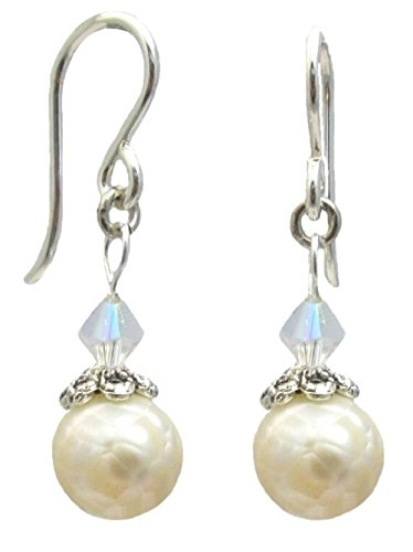 Cultured Freshwater Pearl Dangle Earrings ~ Cream or Peacock Grey ~ Sterling Silver Hooks ~ Organza Gift Bag Included