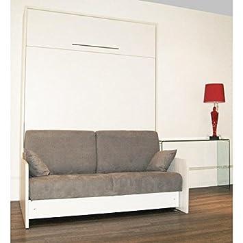 Inside Schrank Bett Verstecktem Space Sofa Sofa Grau Integriert