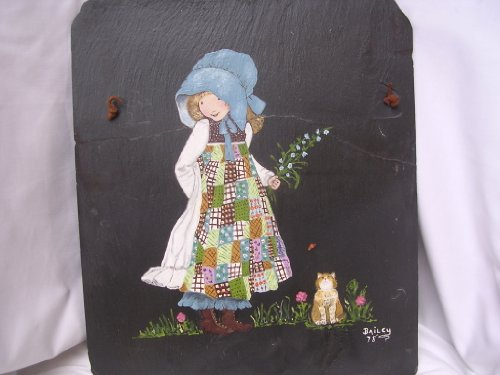 Holly Hobbie Art Painting Original Collectible on Black Slate Wall Hanging ; Bailey 1978