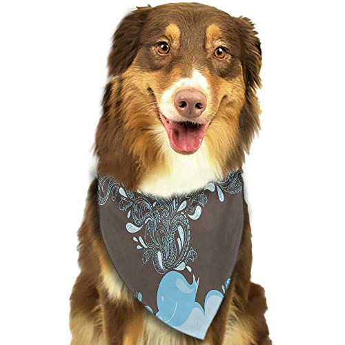 Dog Bandana Whale Baloon Like Whale in The Ocean with Bubbles Cartoon Batik Tribal Style Image W27.5 xL12 Scarf for Small and Medium Dogs and Cats ()