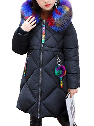 OCHENTA Girls' Puffer Down Coat Winter Jacket with Faux Fur Trim Hood Black Tag 110-3-4T