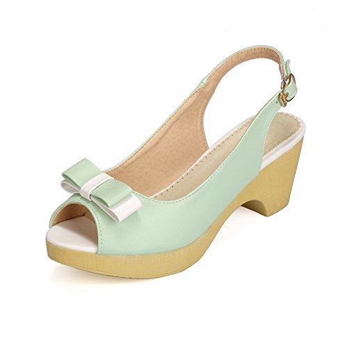 AllhqFashion Women's Peep Toe Kitten-Heels Soft Material Assorted Color Buckle Sandals Green 1yrtRsk