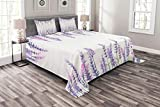 Lunarable Purple Bedspread Set King Size, Lavender Plants Aromatic Evergreen Shrub of Mint Family Nature Oil Country Style Print, Decorative Quilted 3 Piece Coverlet Set with 2 Pillow Shams, Lilac