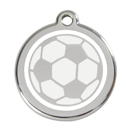 Red Dingo Custom Engraved Stainless Steel and Enamel Dog ID Tag - Soccer Ball (Medium)