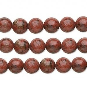 (Round Red Sesame Jasper Beads 8mm 16 Inch Strand)