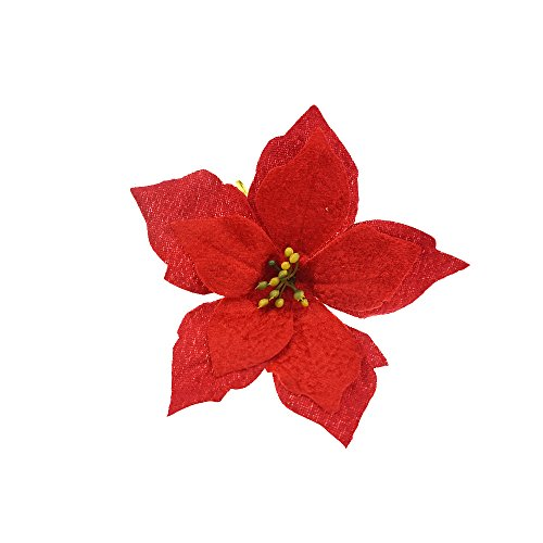 Artificial Poinsettia - 6 Inches Red Artificial Poinsettia Wedding Christmas Flowers Party Ornaments for Crafts, , Pack of 10 by SHXSTORE