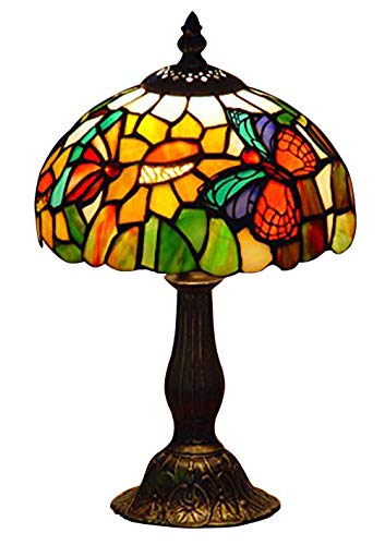 NOSHY UT08001 Tiffany Style Butterfly Stained Glass Table Lamps,Multicolor,8-Inch Diameter,13.5-Inch Height,E12 Lamp Socket, Pack of -