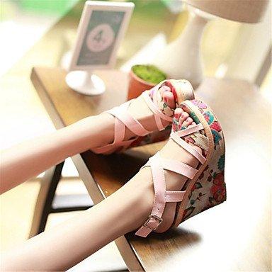 LFNLYX Sandalias mujer Primavera Verano Otoño Comfort Novedad Materiales personalizados polipiel parte & vestido de noche casual tacón cuña beige rosa Beige