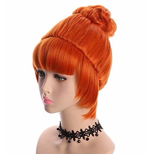 Yuehong Cosplay Wig Orange Bun Curly Synthetic