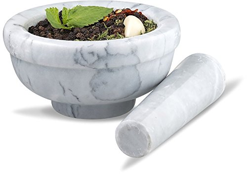 Long Pestle - Sagler mortar and pestle set Marble Grey 3.75 inches diameter
