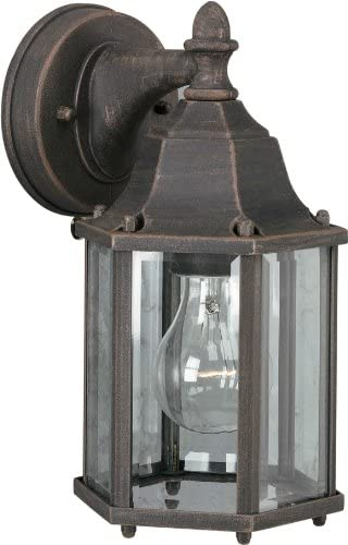 Forte Lighting 1742-01-28 Traditional 1 Light Exterior Wall Lantern, Painted Rust Finish with Clear Beveled Glass