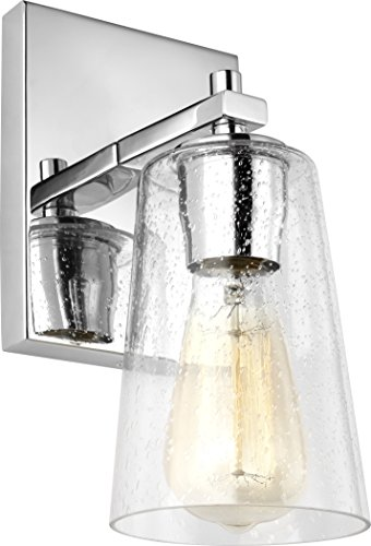 Feiss VS24301CH Mercer Glass Wall Sconce Lighting, Chrome, 1-Light (5