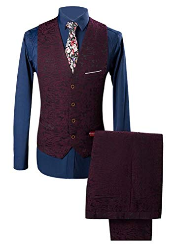 Button Susielady Giacche Slim One Fit Three Red Casual Uomo Wedding Single piece Blazer FUqwUXAC